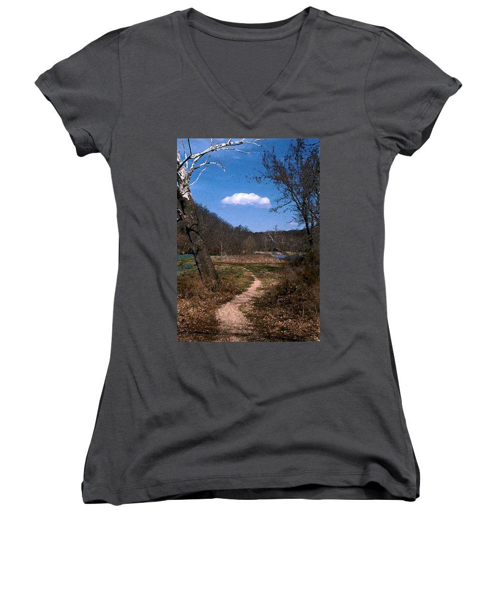 Landscape Women's V-Neck T-Shirt featuring the photograph Cloud Destination by Steve Karol