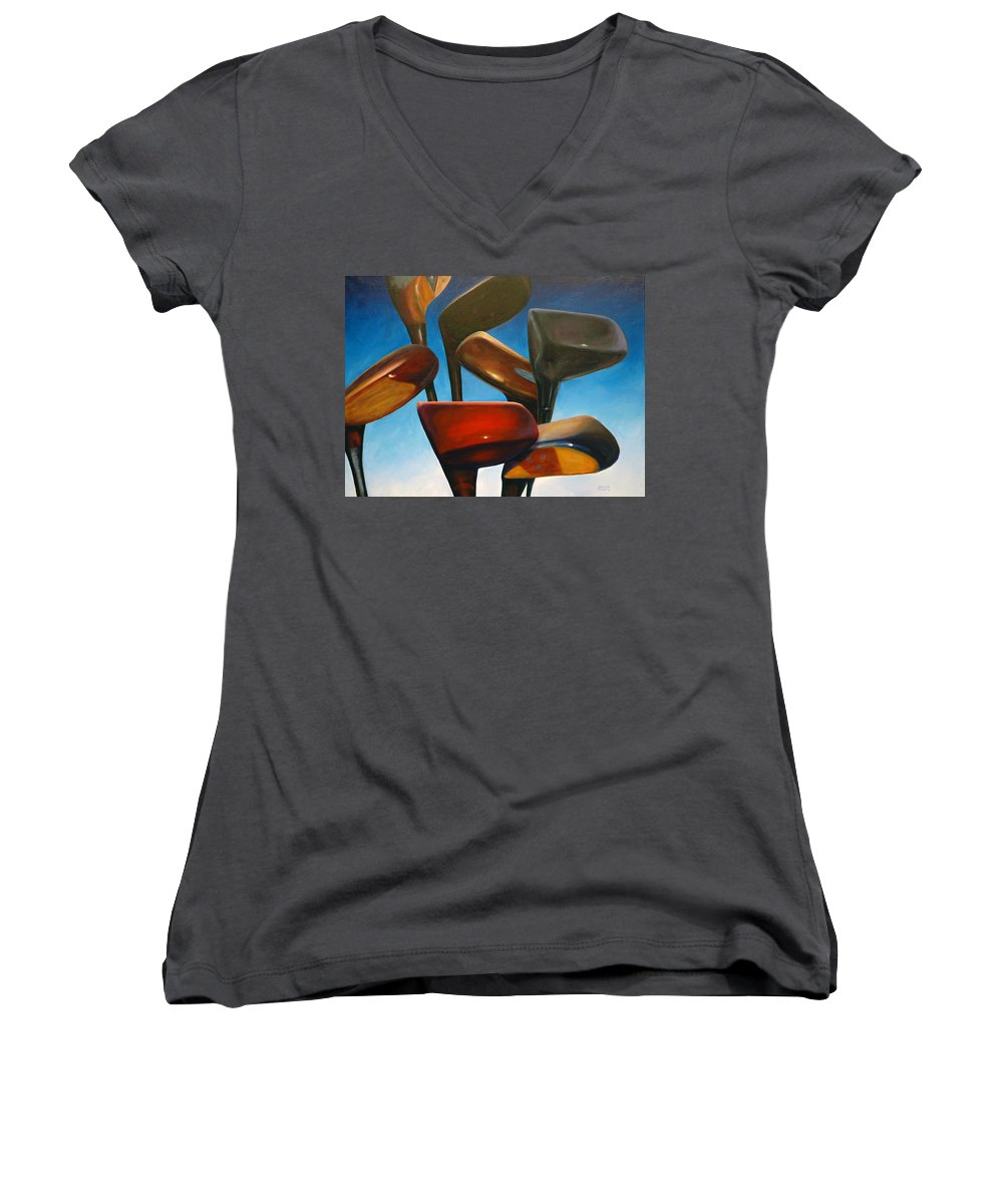 Golf Clubs Brown Women's V-Neck (Athletic Fit) featuring the painting Clubs Rising by Shannon Grissom