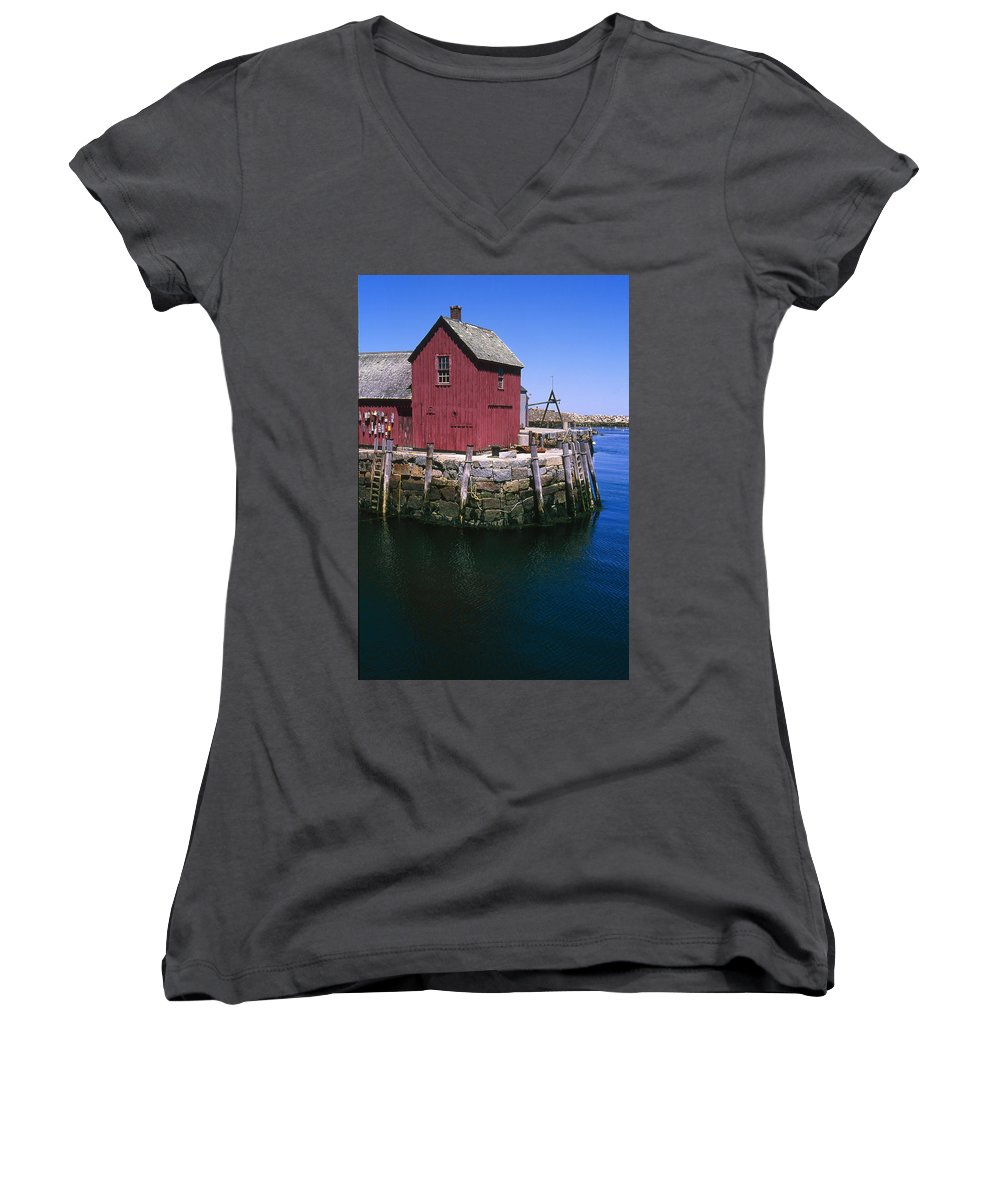 Landscape New England Rockport Motif Number 1 Women's V-Neck T-Shirt featuring the photograph Cnrf0506 by Henry Butz