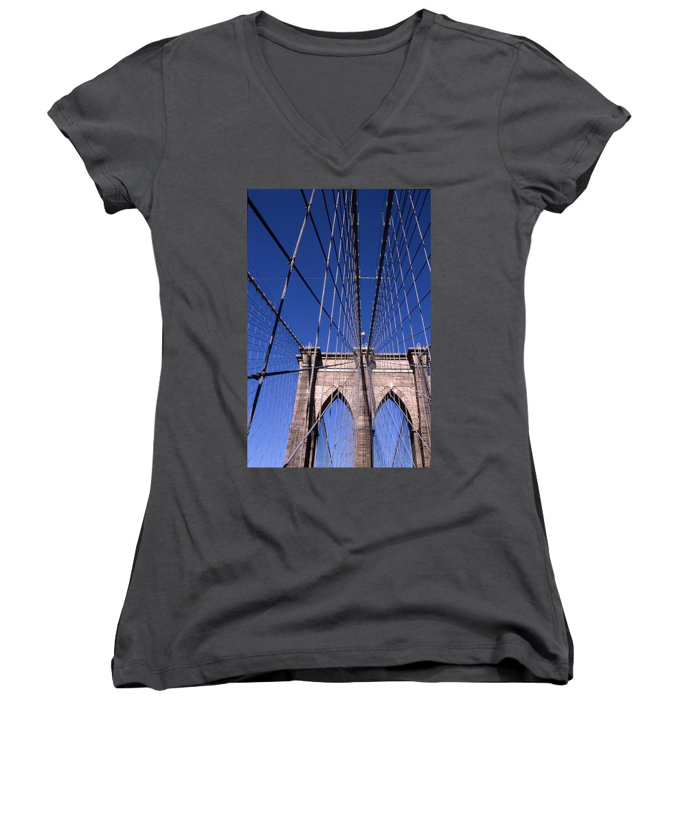 Landscape Brooklyn Bridge New York City Women's V-Neck (Athletic Fit) featuring the photograph Cnrg0407 by Henry Butz