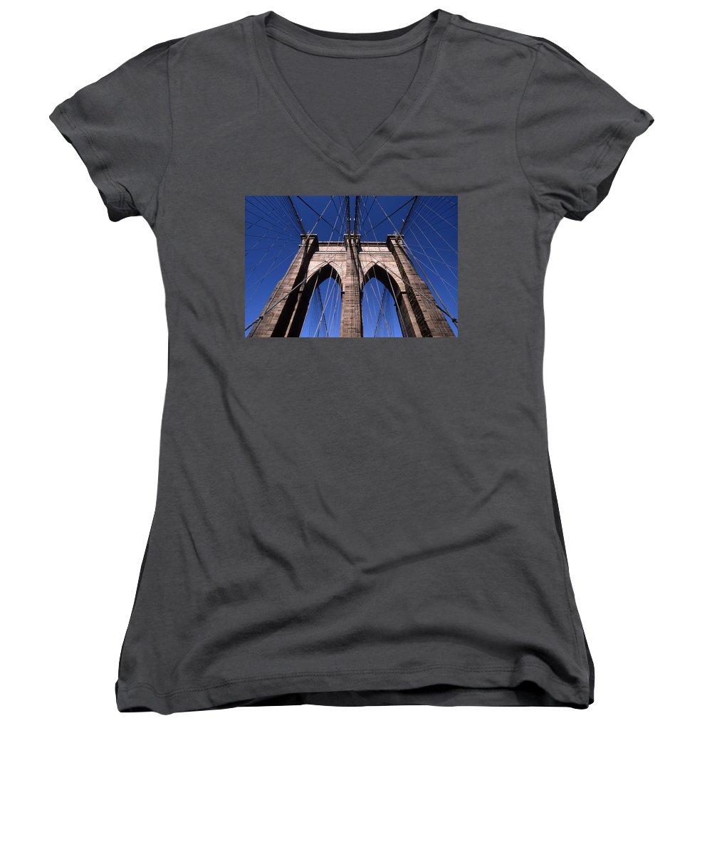 Landscape Brooklyn Bridge New York City Women's V-Neck T-Shirt featuring the photograph Cnrg0409 by Henry Butz