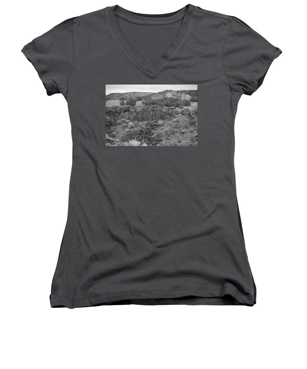Rocks Women's V-Neck T-Shirt featuring the photograph Cochiti Rocks by Rob Hans