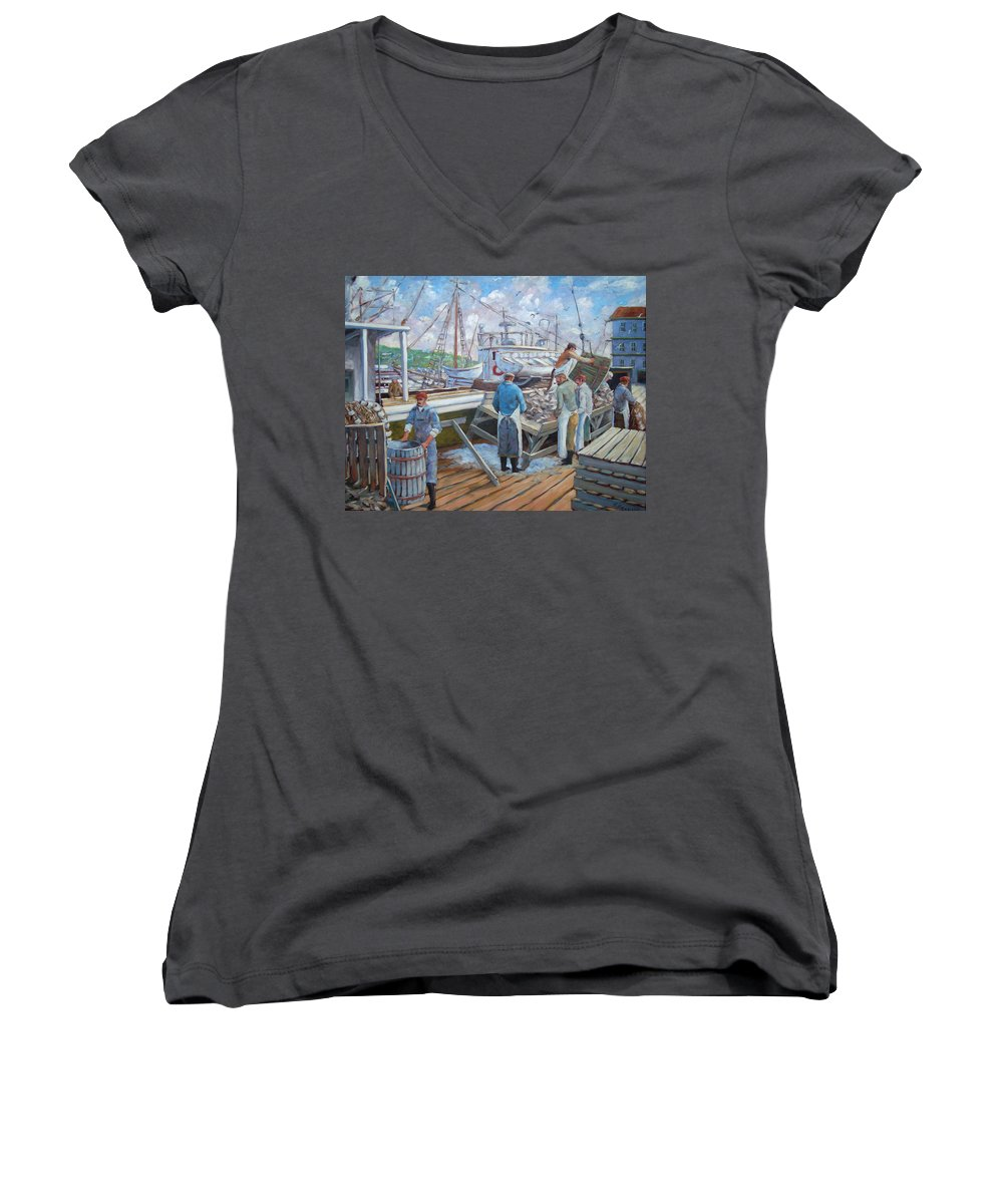 Cod Women's V-Neck T-Shirt featuring the painting Cod Memories by Richard T Pranke