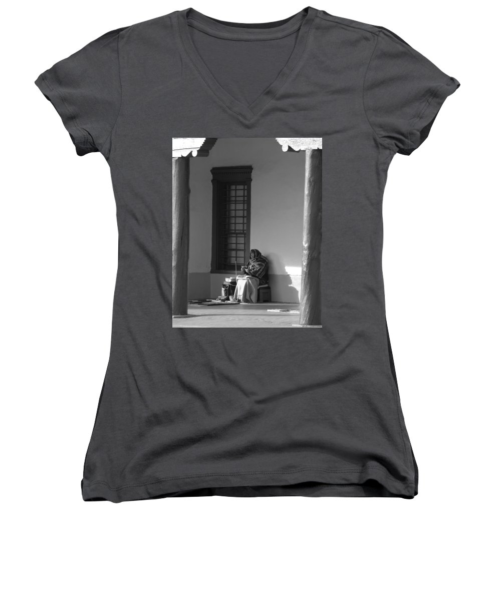 Southwestern Women's V-Neck (Athletic Fit) featuring the photograph Cold Native American Woman by Rob Hans