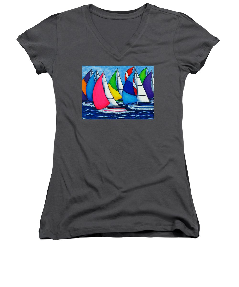 Boats Women's V-Neck (Athletic Fit) featuring the painting Colourful Regatta by Lisa Lorenz