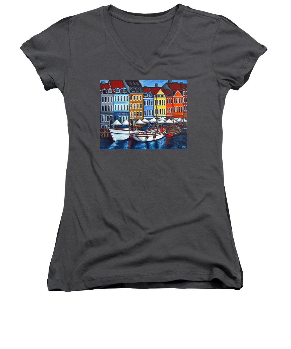 Nyhavn Women's V-Neck (Athletic Fit) featuring the painting Colours Of Nyhavn by Lisa Lorenz