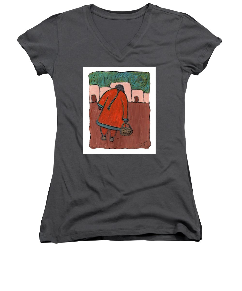 Southwest Women's V-Neck T-Shirt featuring the painting Coming Home by Wayne Potrafka