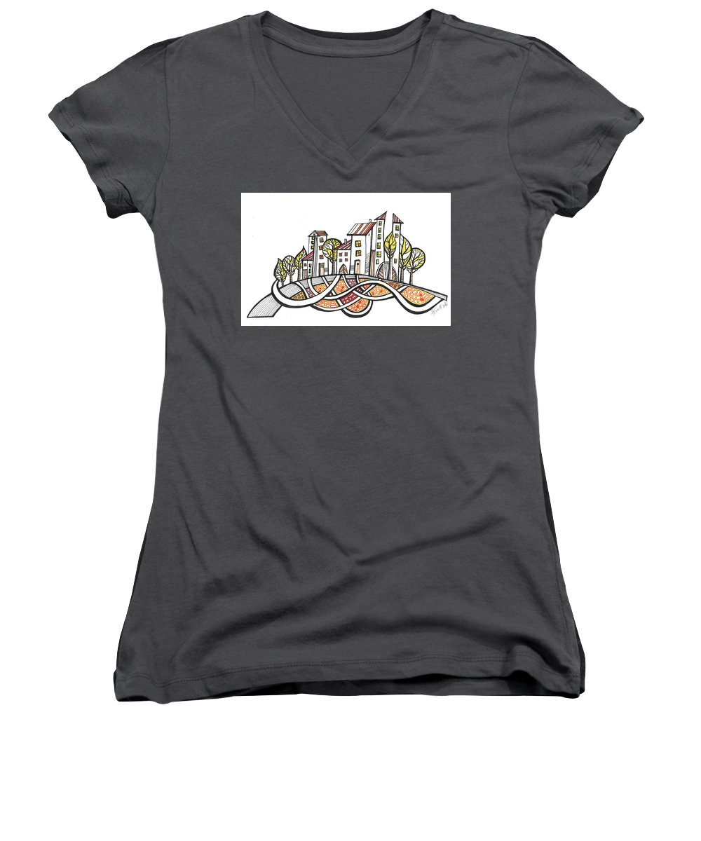 Houses Women's V-Neck T-Shirt featuring the drawing Connections by Aniko Hencz