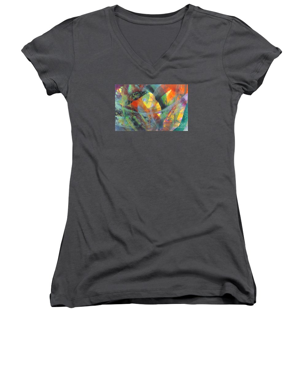 Abstract Women's V-Neck T-Shirt featuring the painting Connections by Lucy Arnold