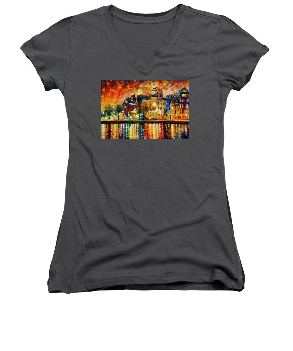 City Women's V-Neck T-Shirt featuring the painting Copenhagen Original Oil Painting by Leonid Afremov