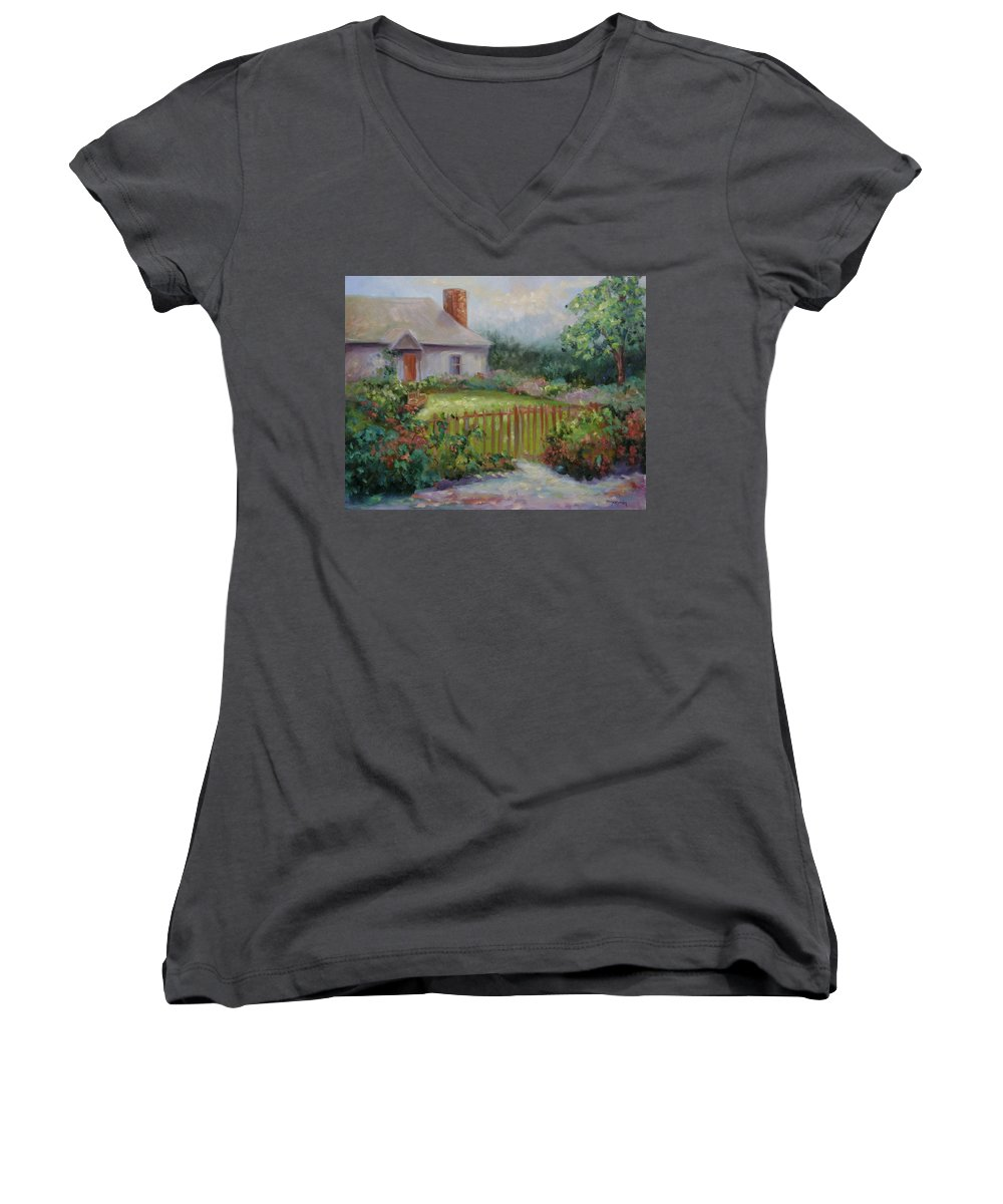 Cottswold Women's V-Neck T-Shirt featuring the painting Cottswold Cottage by Ginger Concepcion