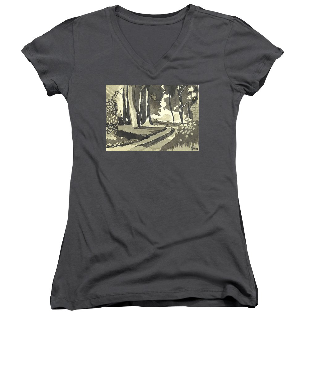 Rural Women's V-Neck (Athletic Fit) featuring the painting Country Lane In Evening Shadow by Kip DeVore