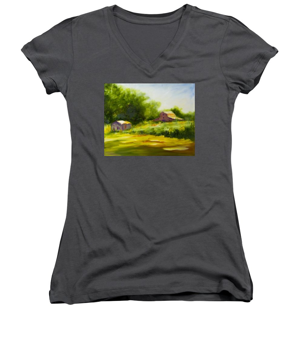 Landscape In Green Women's V-Neck (Athletic Fit) featuring the painting Courage by Shannon Grissom