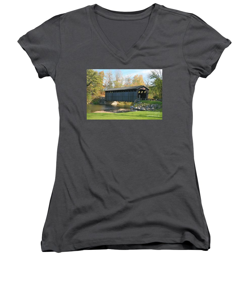 Covered Bridge Women's V-Neck T-Shirt featuring the photograph Covered Bridge by Robert Pearson