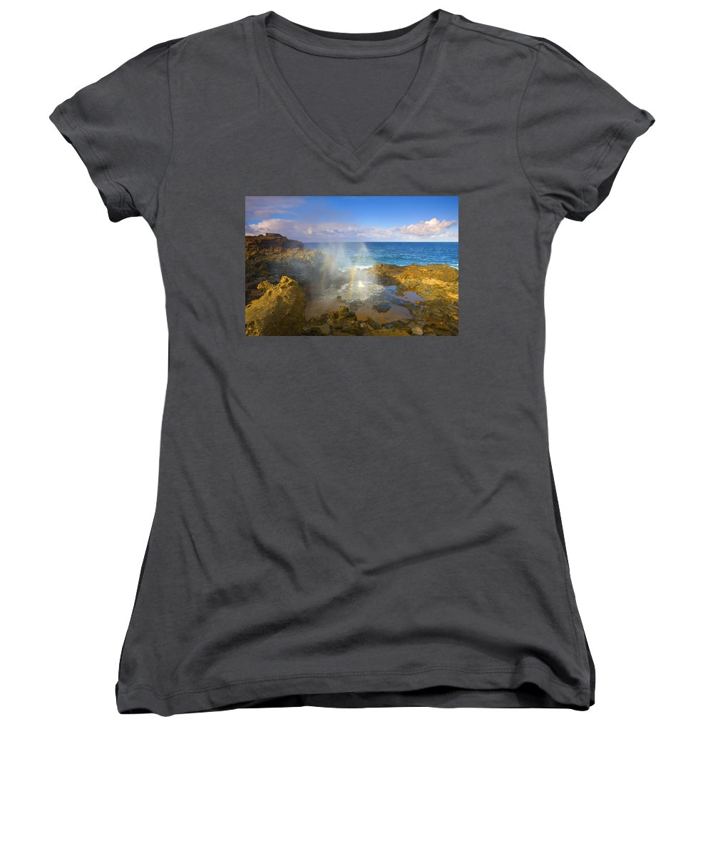 Blowhole Women's V-Neck T-Shirt featuring the photograph Creating Miracles by Mike Dawson