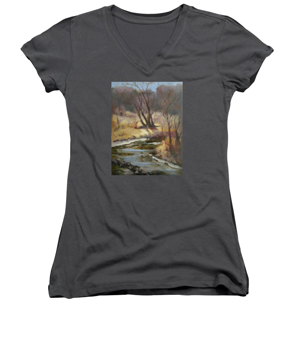 Plein Air Landscape Women's V-Neck (Athletic Fit) featuring the painting Credit River by Patricia Kness