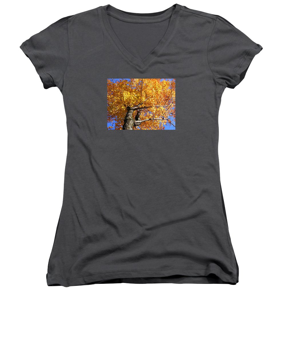 Trees Women's V-Neck (Athletic Fit) featuring the photograph Crown Fire by Dave Martsolf