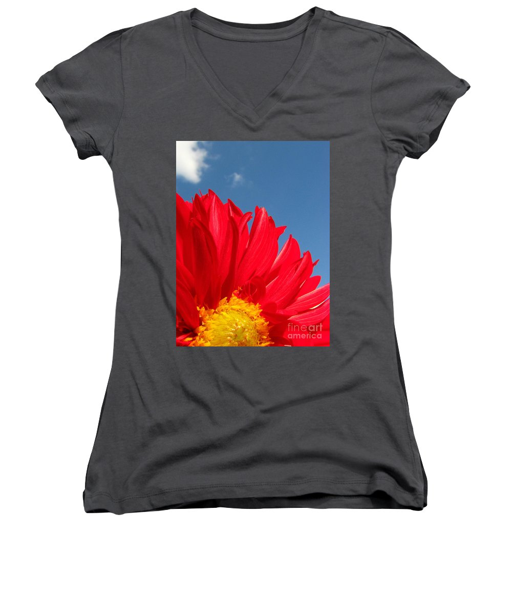 Dahlia Women's V-Neck (Athletic Fit) featuring the photograph Dahlia by Amanda Barcon