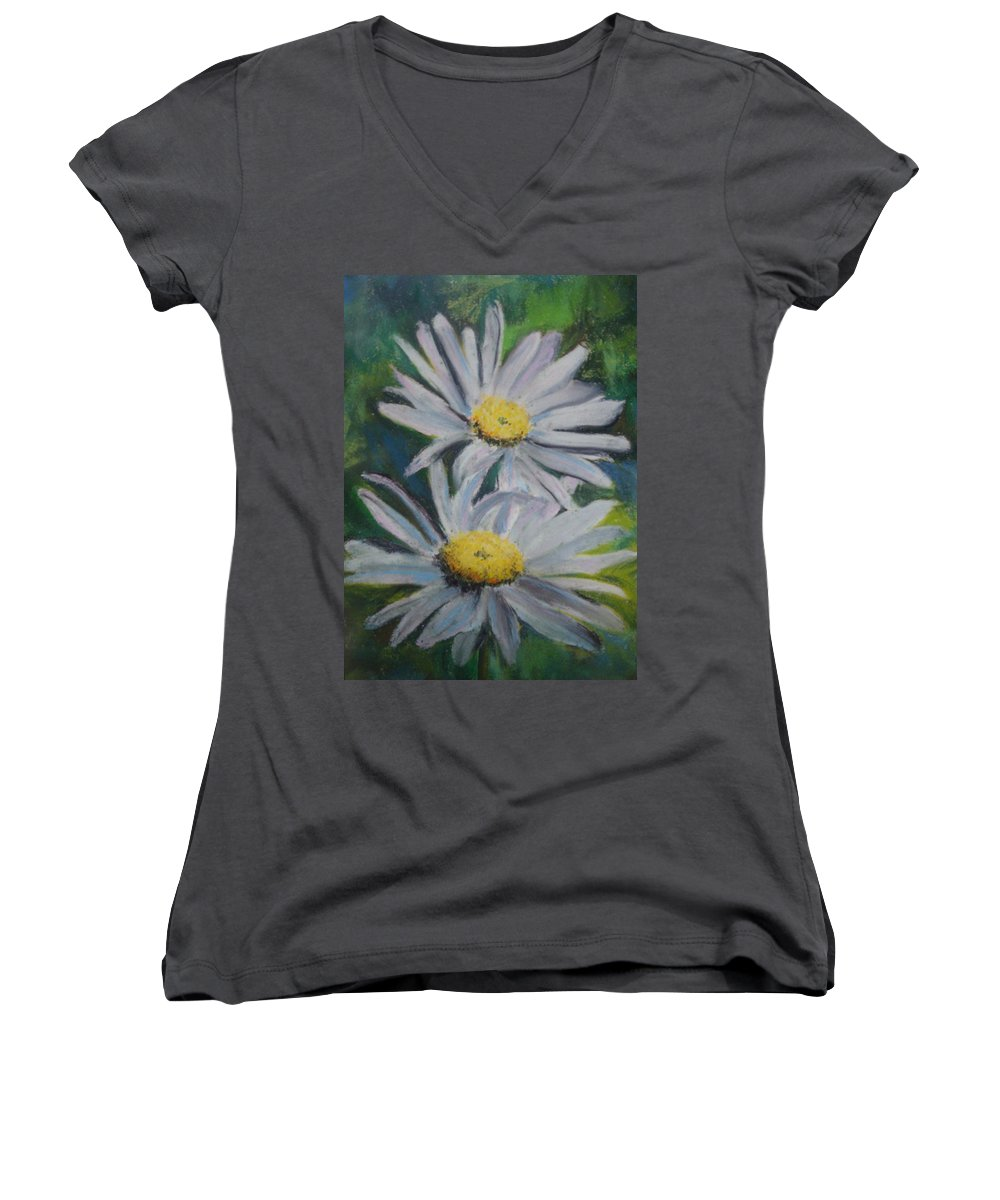 Daisies Women's V-Neck T-Shirt featuring the painting Daisies by Melinda Etzold