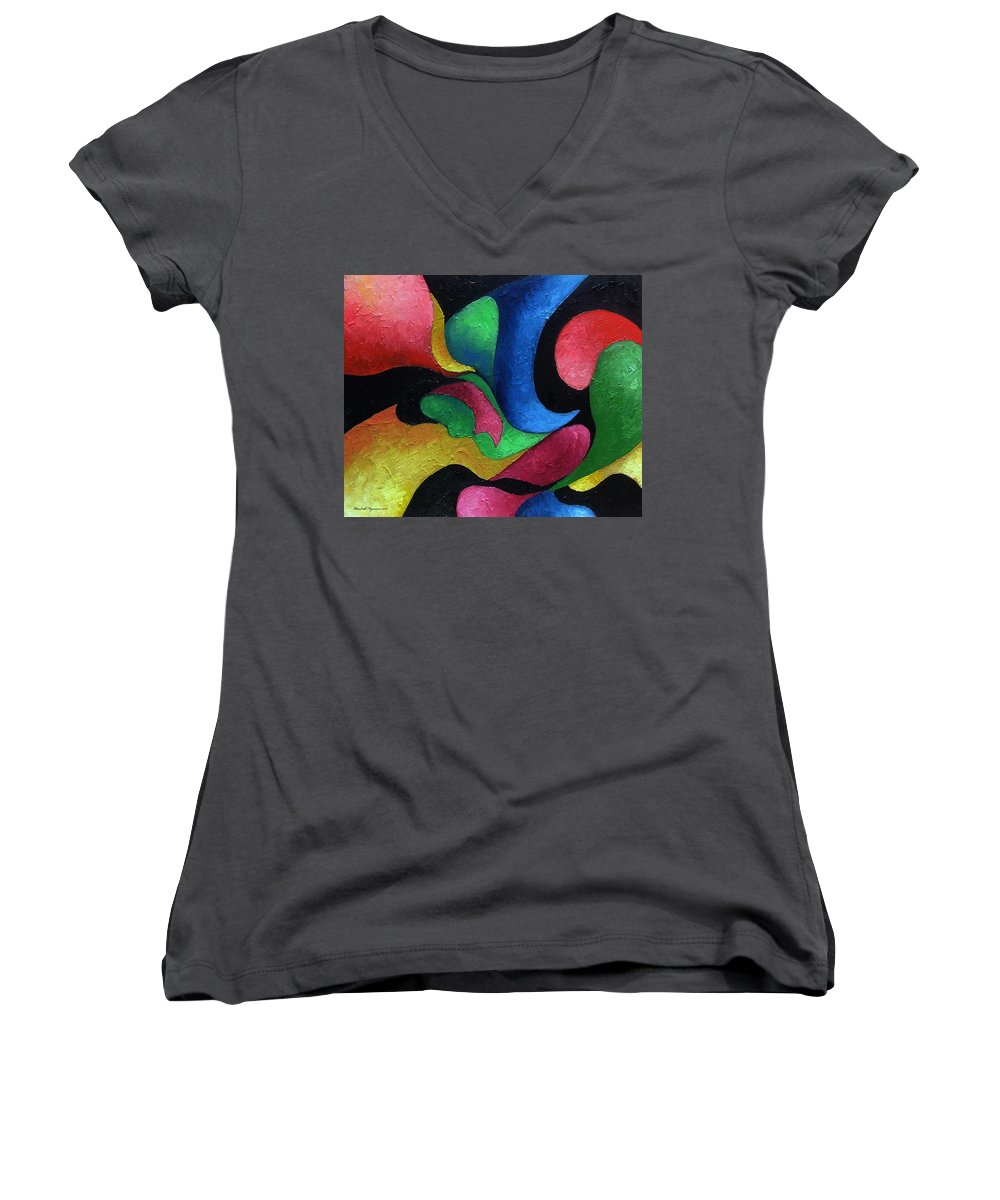 Abstract Women's V-Neck (Athletic Fit) featuring the painting Dance With Me by Elizabeth Lisy Figueroa