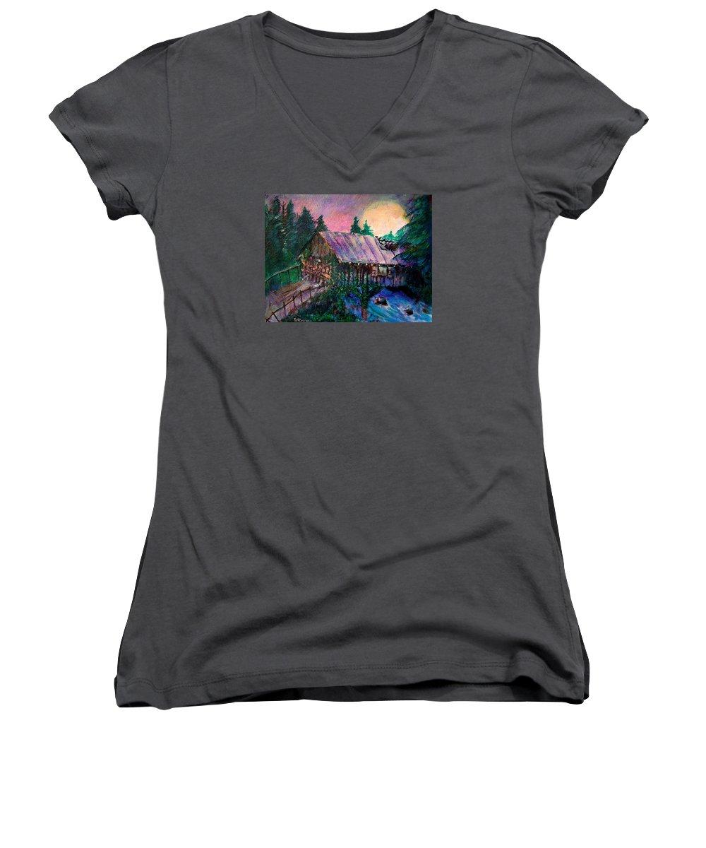 Dangerous Bridge Women's V-Neck T-Shirt featuring the painting Dangerous Bridge by Seth Weaver