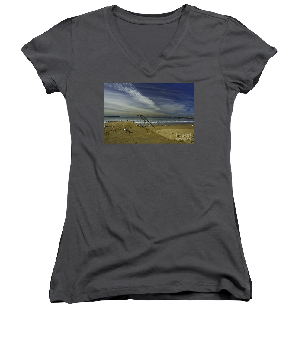 Beach Women's V-Neck T-Shirt featuring the photograph Dee Why Beach Sydney by Avalon Fine Art Photography
