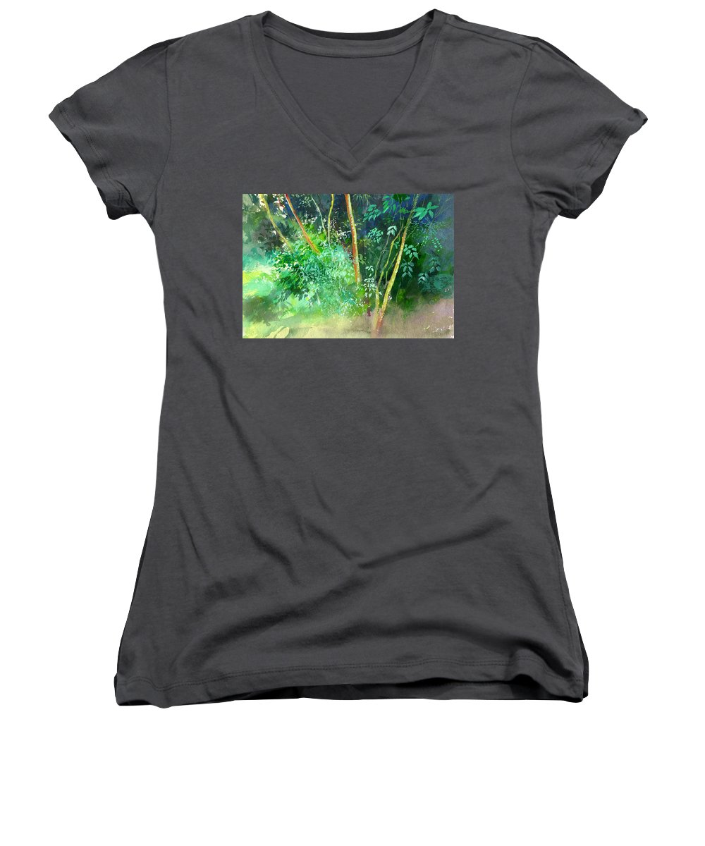 Water Color Women's V-Neck (Athletic Fit) featuring the painting Deep by Anil Nene