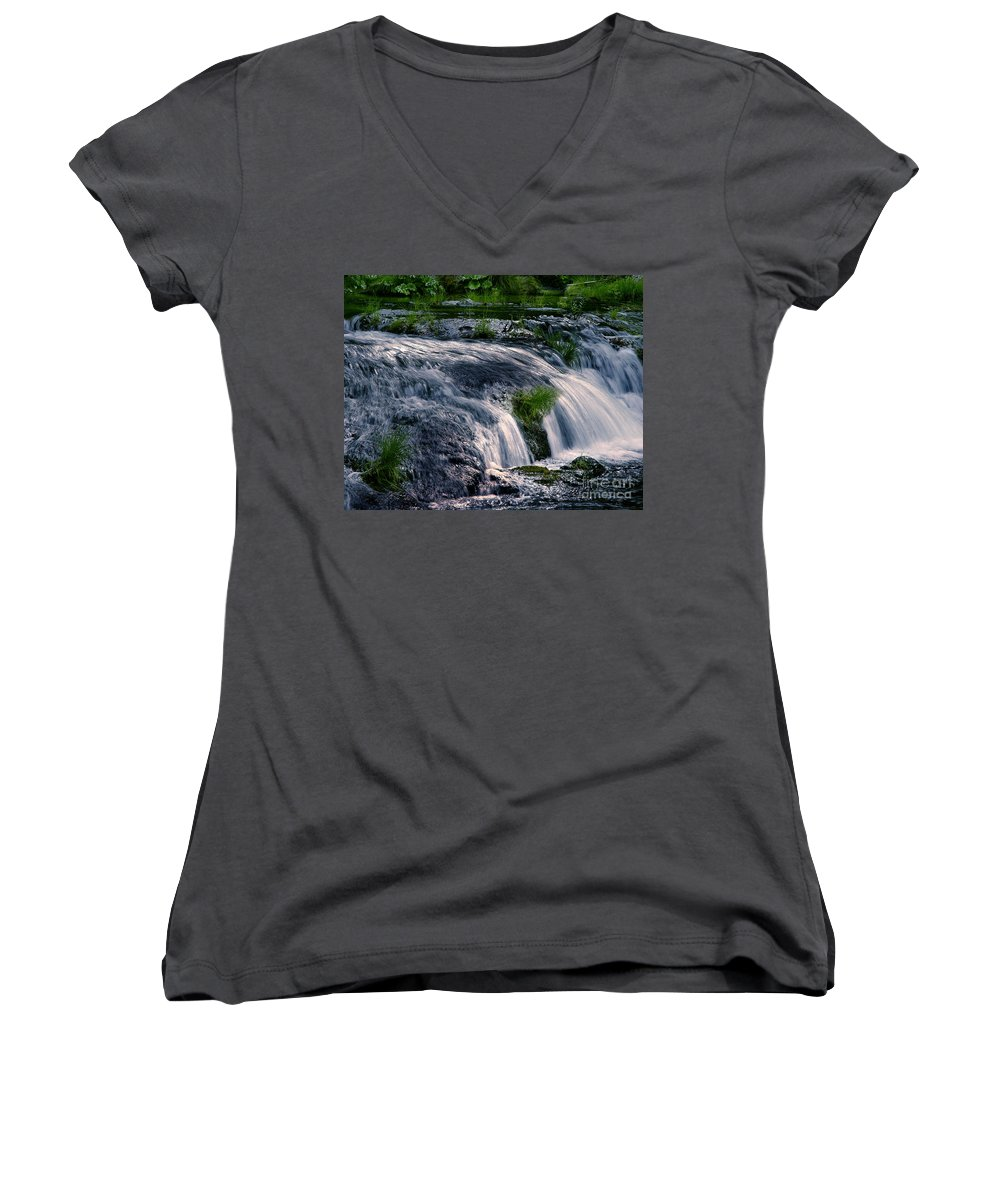 Creek Women's V-Neck (Athletic Fit) featuring the photograph Deer Creek 01 by Peter Piatt