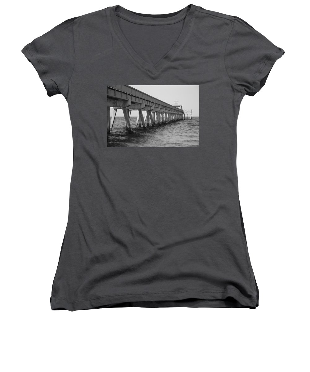 Architecture Women's V-Neck (Athletic Fit) featuring the photograph Deerfield Beach Pier by Rob Hans