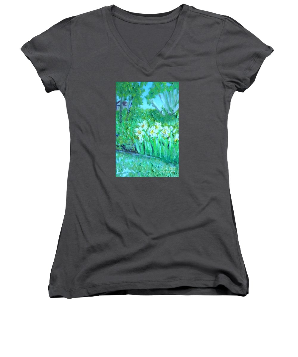 Daffodils Women's V-Neck (Athletic Fit) featuring the painting Dependable Daffodils by Laurie Morgan