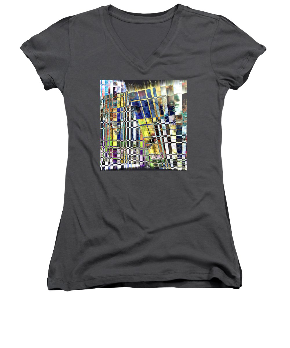 Abstract Women's V-Neck T-Shirt featuring the digital art Desperate Reflections by Seth Weaver