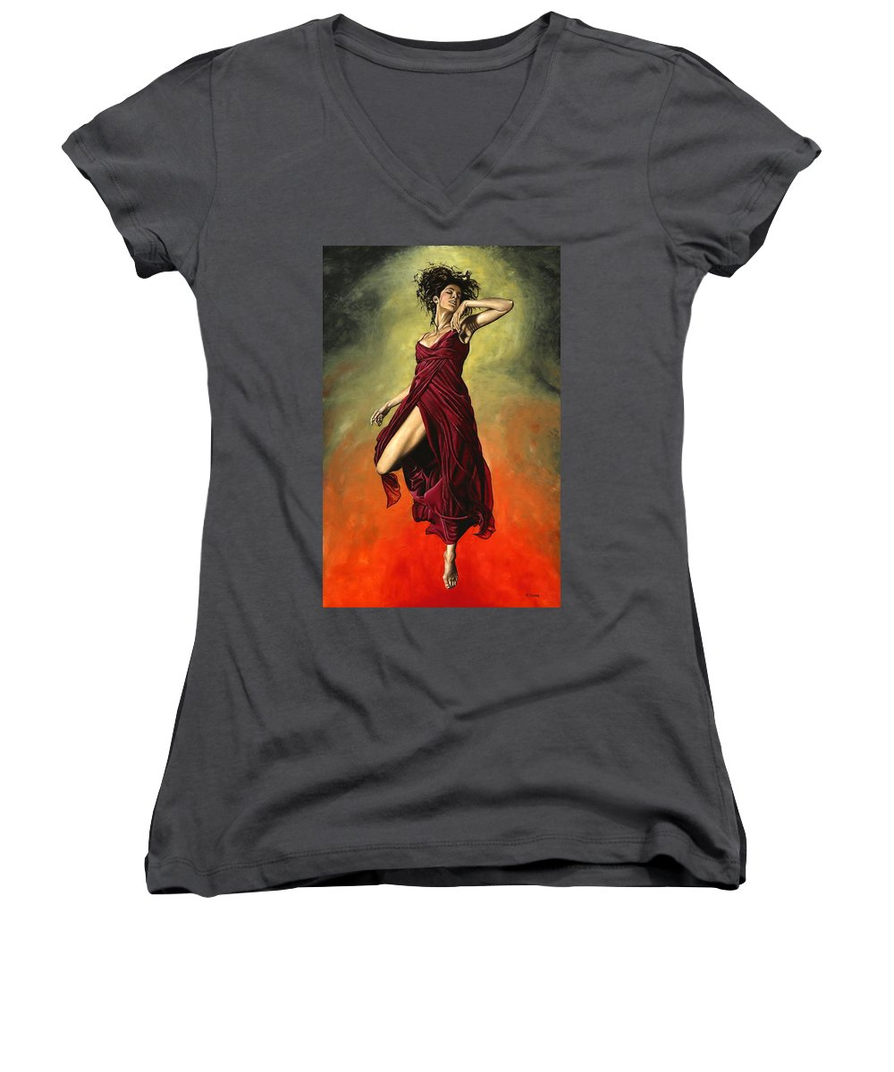 Dance Women's V-Neck T-Shirt featuring the painting Destiny's Dance by Richard Young