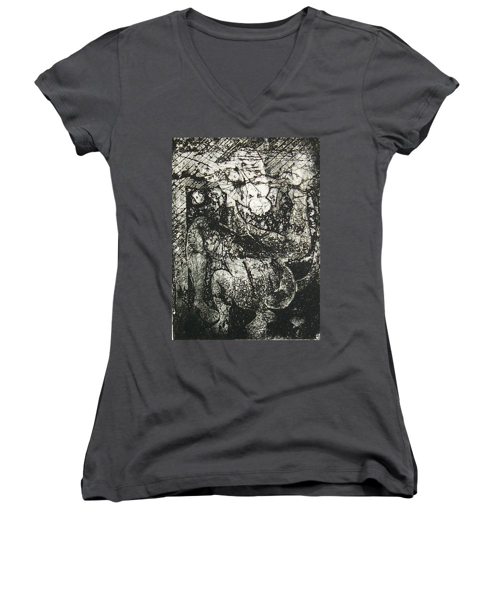 Etching Women's V-Neck T-Shirt featuring the print Destroy Plate by Thomas Valentine