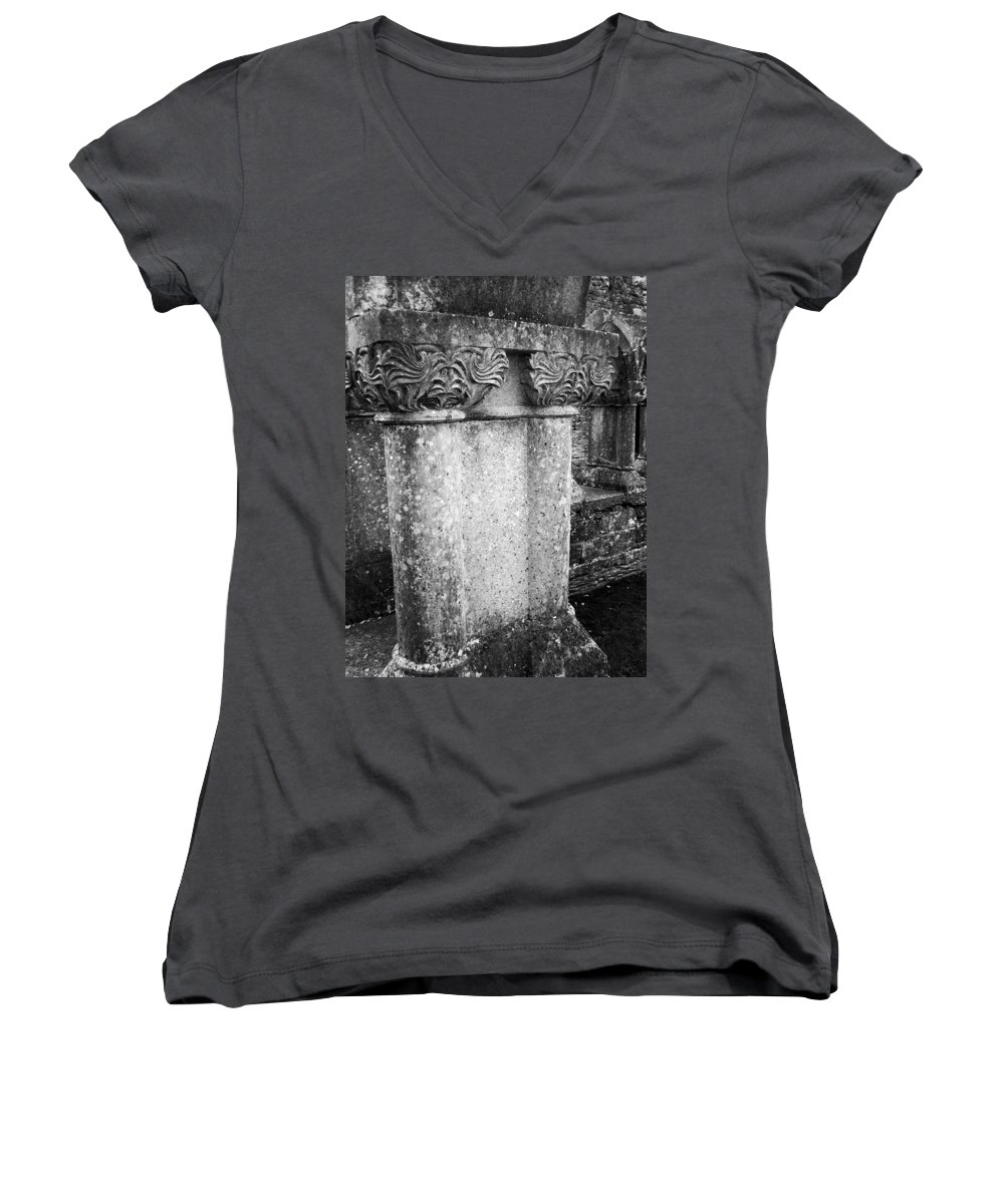 Irish Women's V-Neck T-Shirt featuring the photograph Detail Of Capital Of Cloister At Cong Abbey Cong Ireland by Teresa Mucha