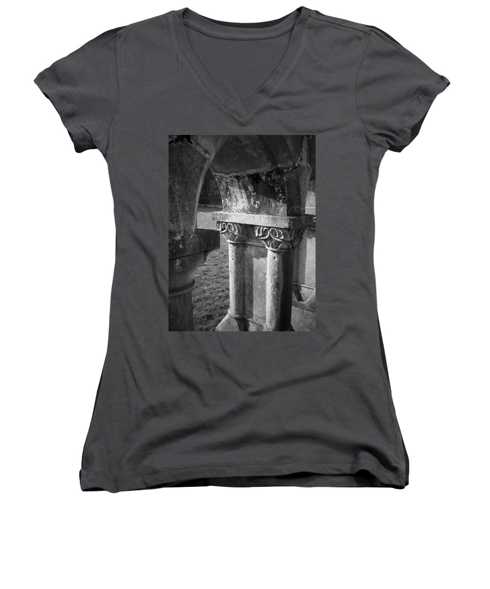 Irish Women's V-Neck T-Shirt featuring the photograph Detail Of Cloister At Cong Abbey Cong Ireland by Teresa Mucha