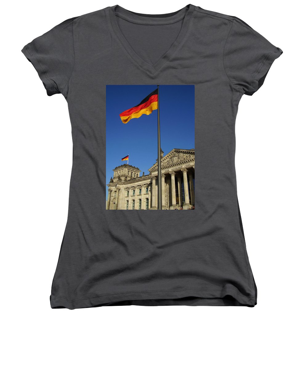 Deutscher Bundestag Women's V-Neck (Athletic Fit) featuring the photograph Deutscher Bundestag by Flavia Westerwelle