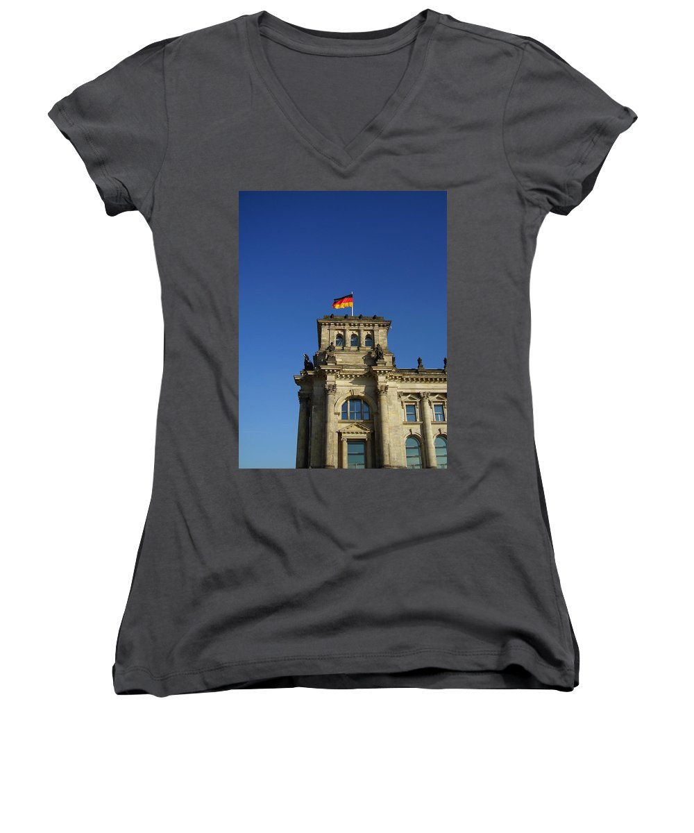 Deutscher Bundestag Women's V-Neck T-Shirt featuring the photograph Deutscher Bundestag II by Flavia Westerwelle