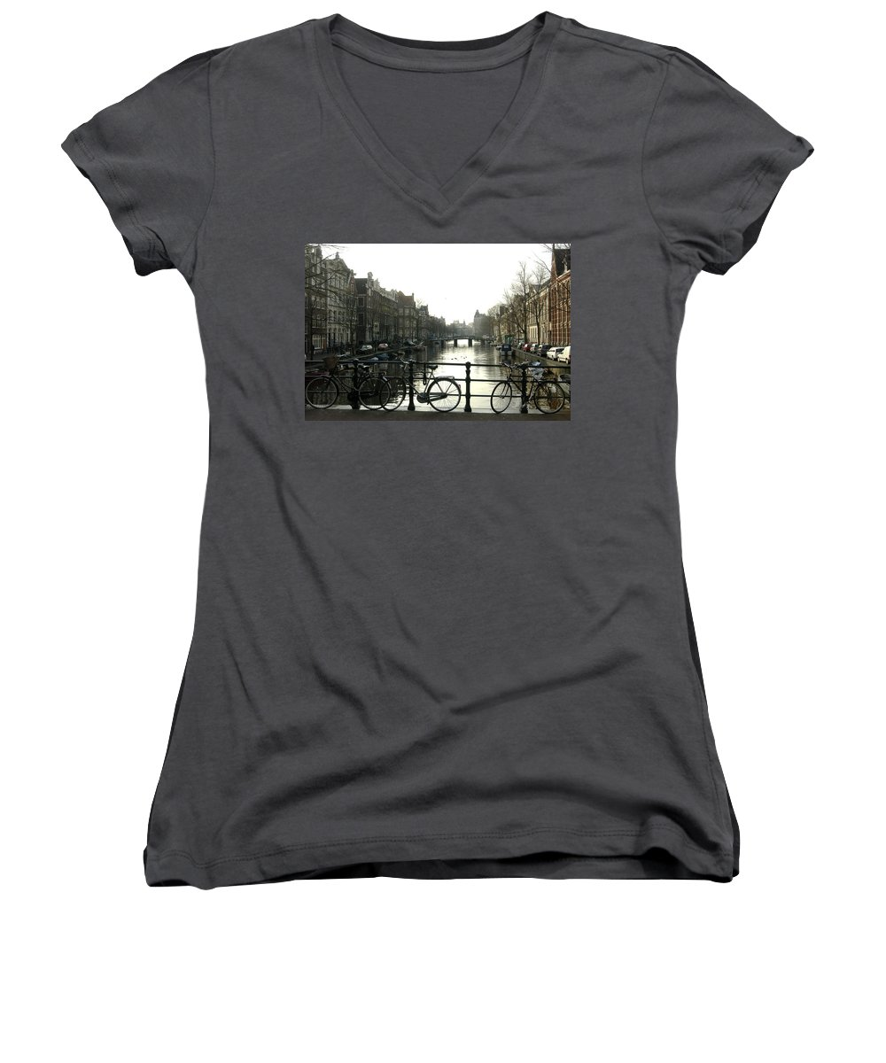 Landscape Amsterdam Red Light District Women's V-Neck T-Shirt featuring the photograph Dnrh1103 by Henry Butz