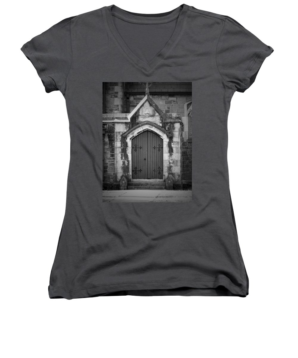 Irish Women's V-Neck T-Shirt featuring the photograph Door At St. Johns In Tralee Ireland by Teresa Mucha