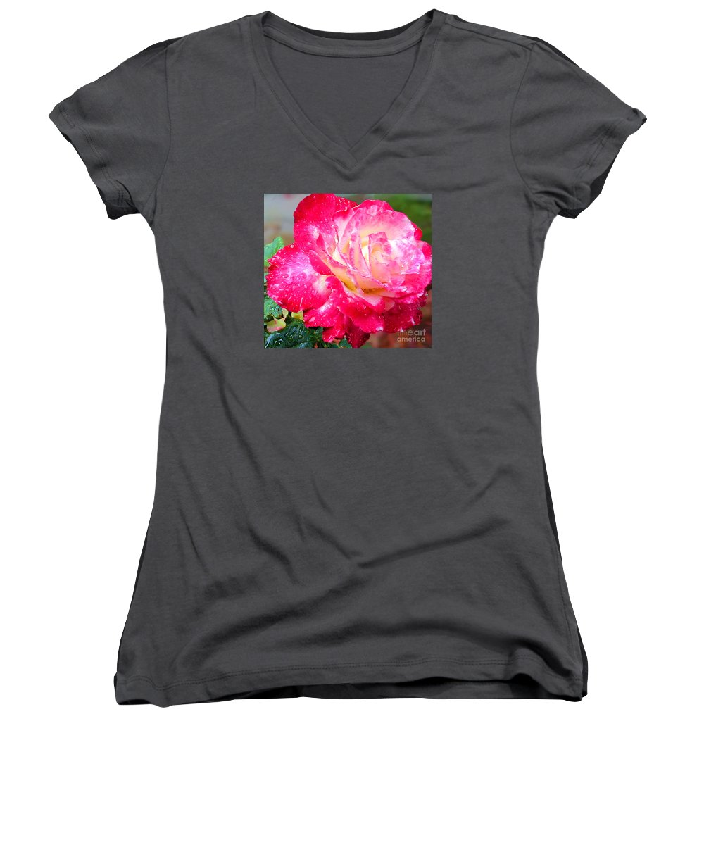 Fine Art Photography Women's V-Neck T-Shirt featuring the photograph Double Delight by Patricia Griffin Brett