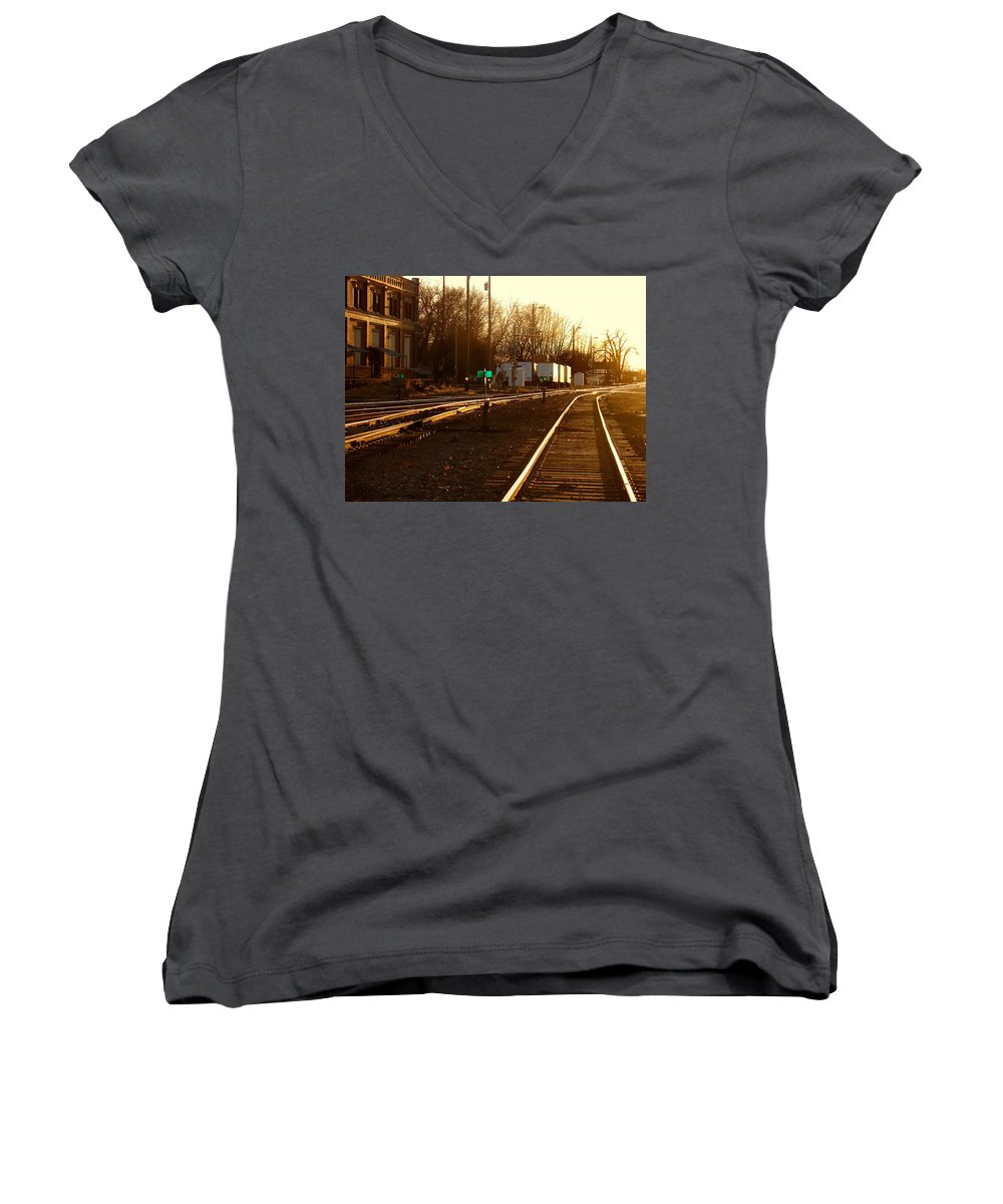 Landscape Women's V-Neck T-Shirt featuring the photograph Down The Right Track by Steve Karol