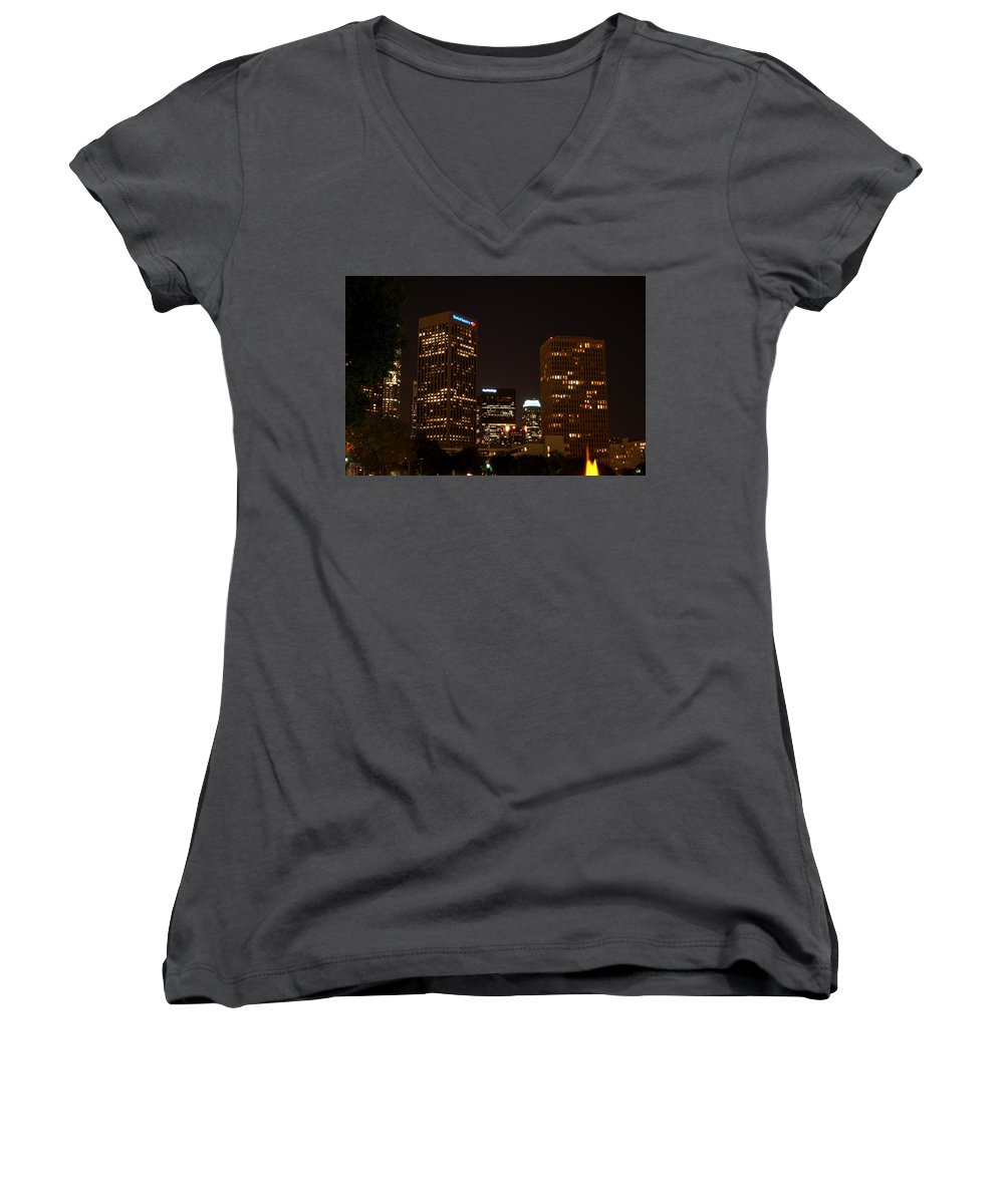 Clay Women's V-Neck T-Shirt featuring the photograph Downtown L.a. In Hdr by Clayton Bruster