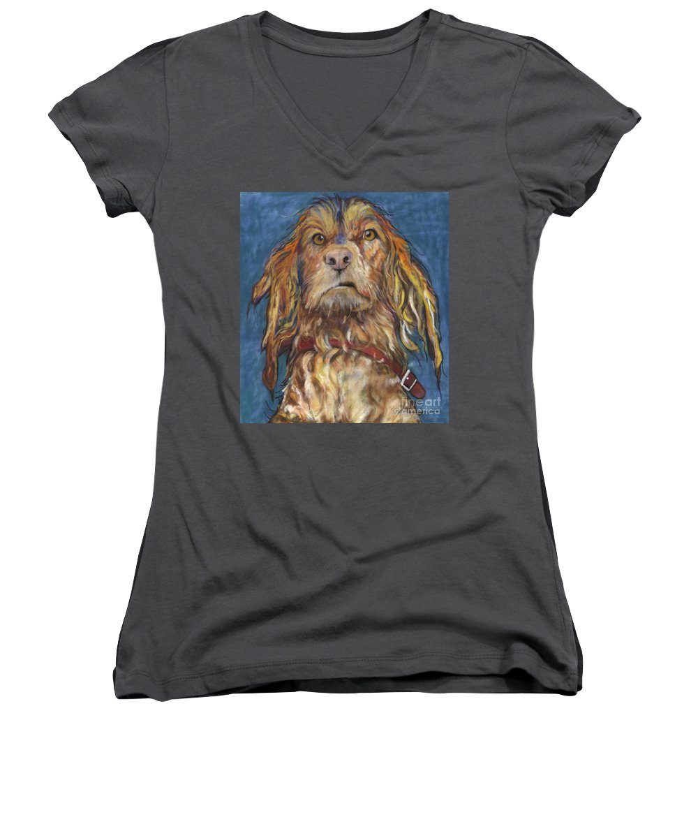 Golden Retriever Painting Women's V-Neck (Athletic Fit) featuring the pastel Drenched by Pat Saunders-White