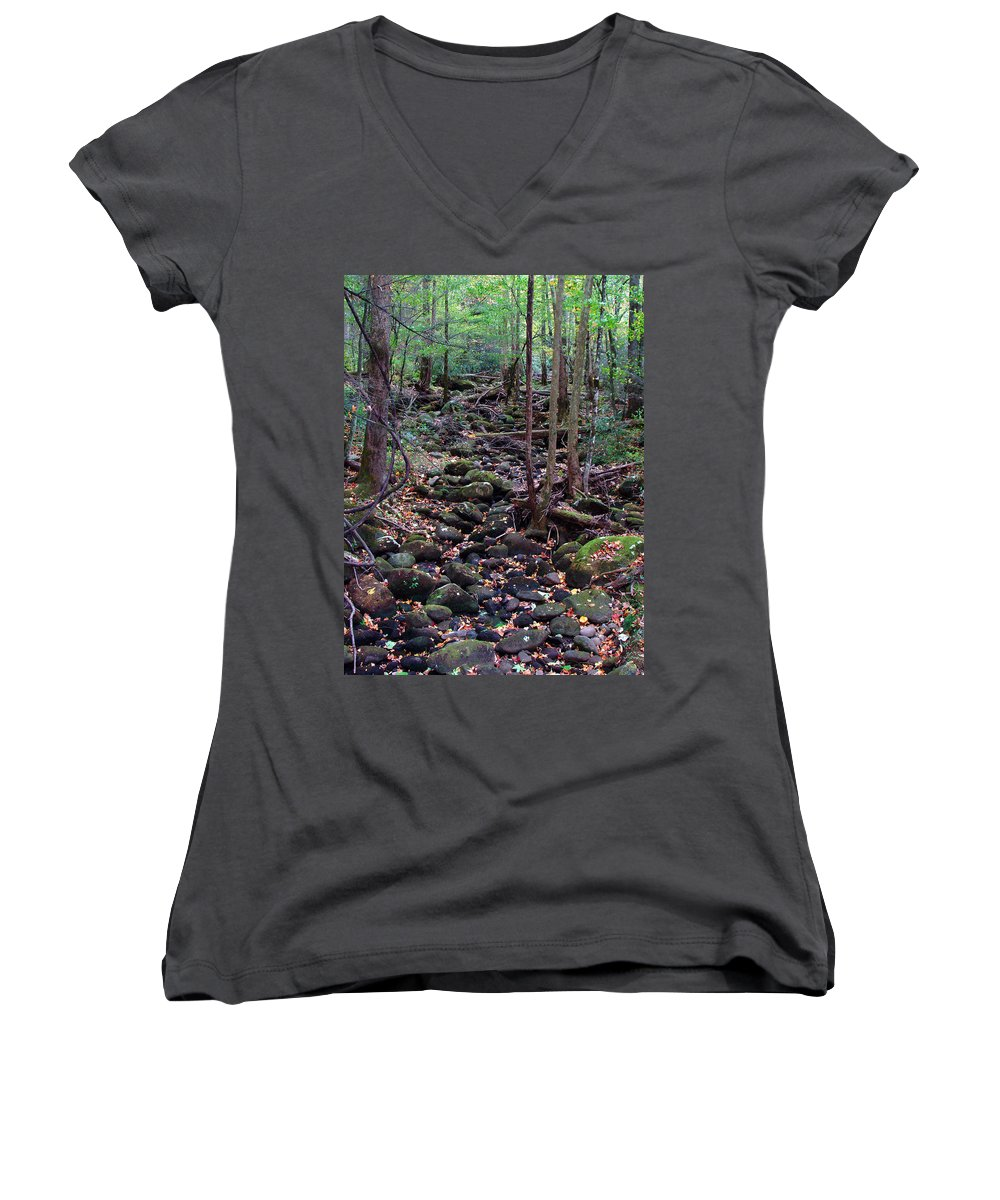 River Women's V-Neck T-Shirt featuring the photograph Dry River Bed- Autumn by Nancy Mueller