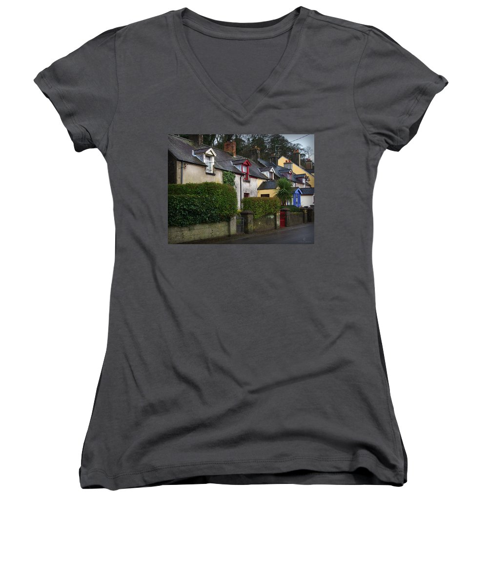 Ireland Women's V-Neck (Athletic Fit) featuring the photograph Dunmore Houses by Tim Nyberg