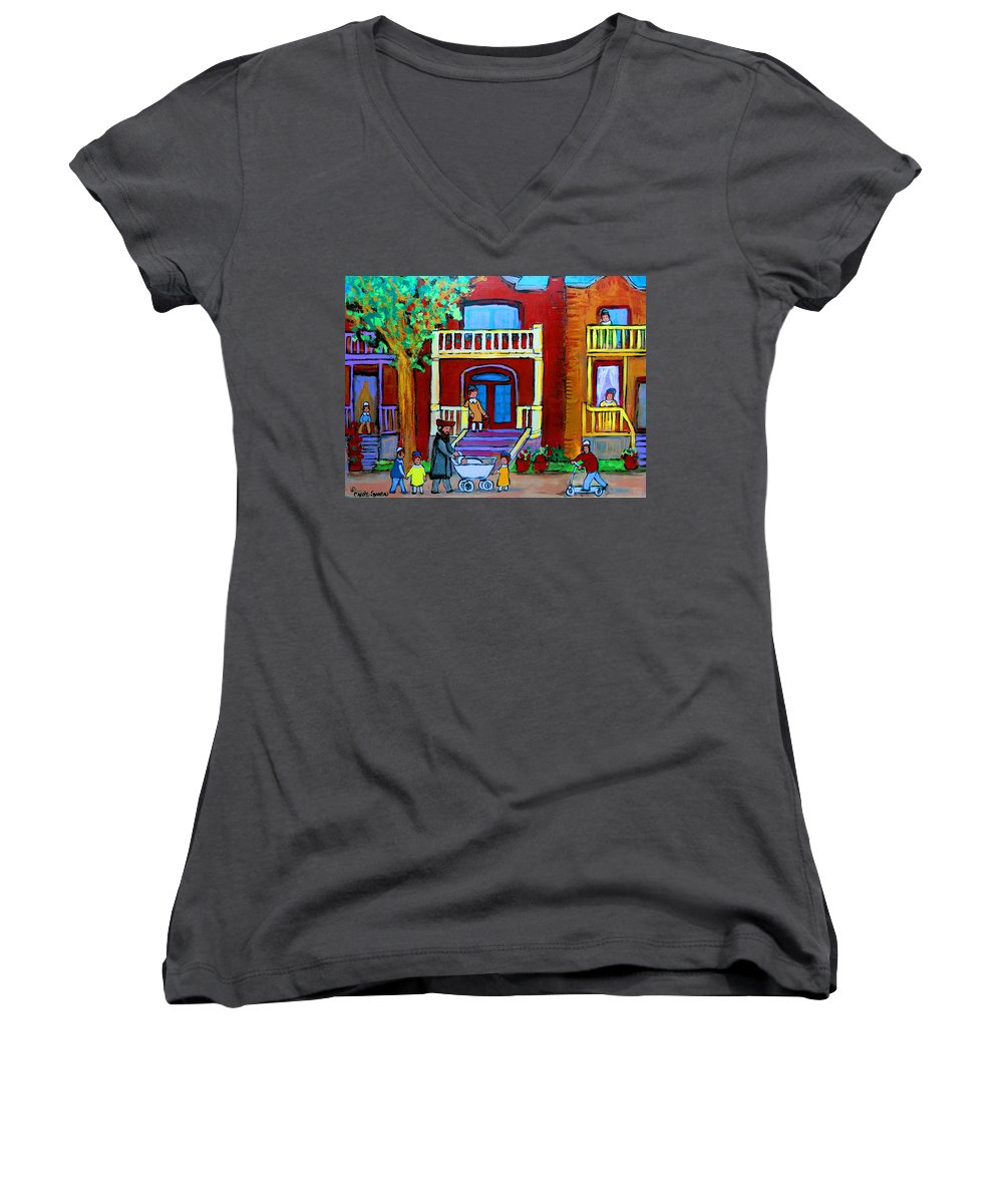Judaica Women's V-Neck T-Shirt featuring the painting Durocher Street Montreal by Carole Spandau