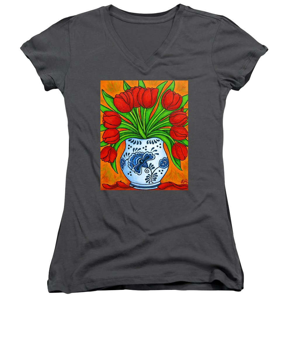 White Women's V-Neck (Athletic Fit) featuring the painting Dutch Delight by Lisa Lorenz