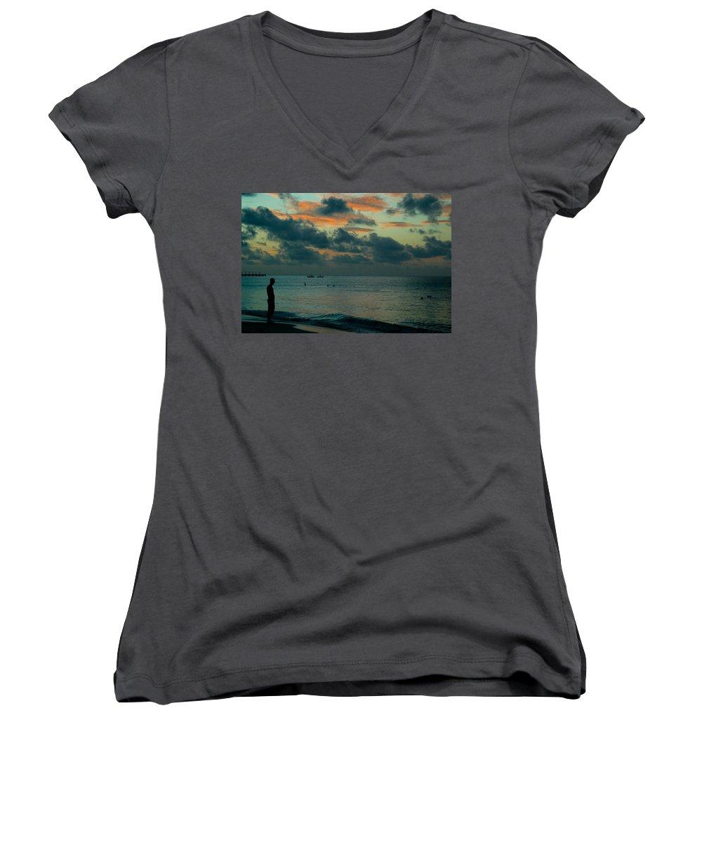 Sea Women's V-Neck T-Shirt featuring the photograph Early Morning Sea by Douglas Barnett