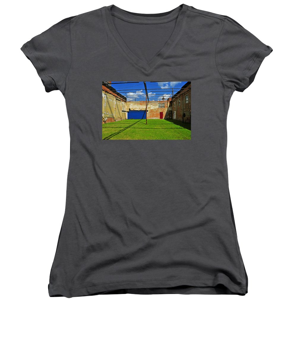 Skiphunt Women's V-Neck T-Shirt featuring the photograph Eco-store by Skip Hunt