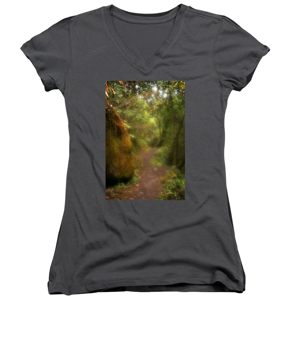 Path Women's V-Neck T-Shirt featuring the photograph El Camino by Patrick Klauss